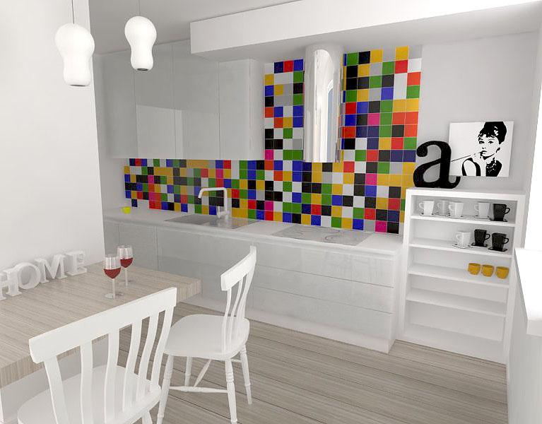 kolorowa mozaika w kuchni