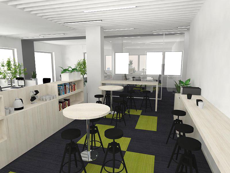 tea station- w przestrzeniu biurowej