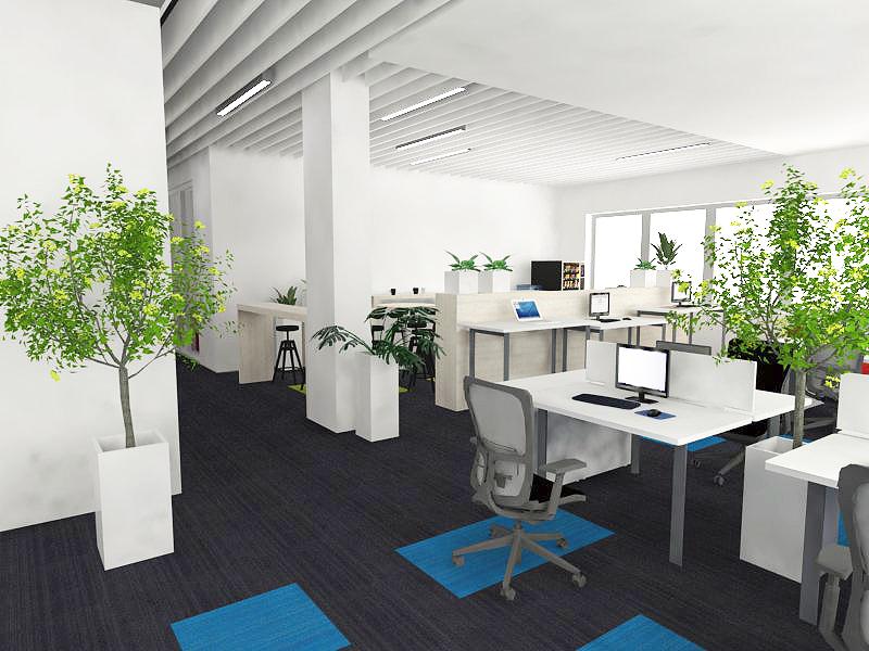 białe meble w biurze