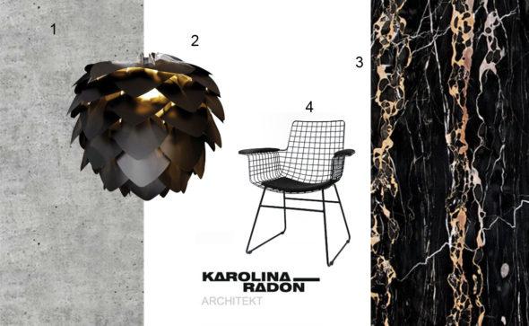 dekorowanie, wnętrza, styl, dobre projekty, stylizacja salonu, nero portoro, złoto, abażur, beton czerń,