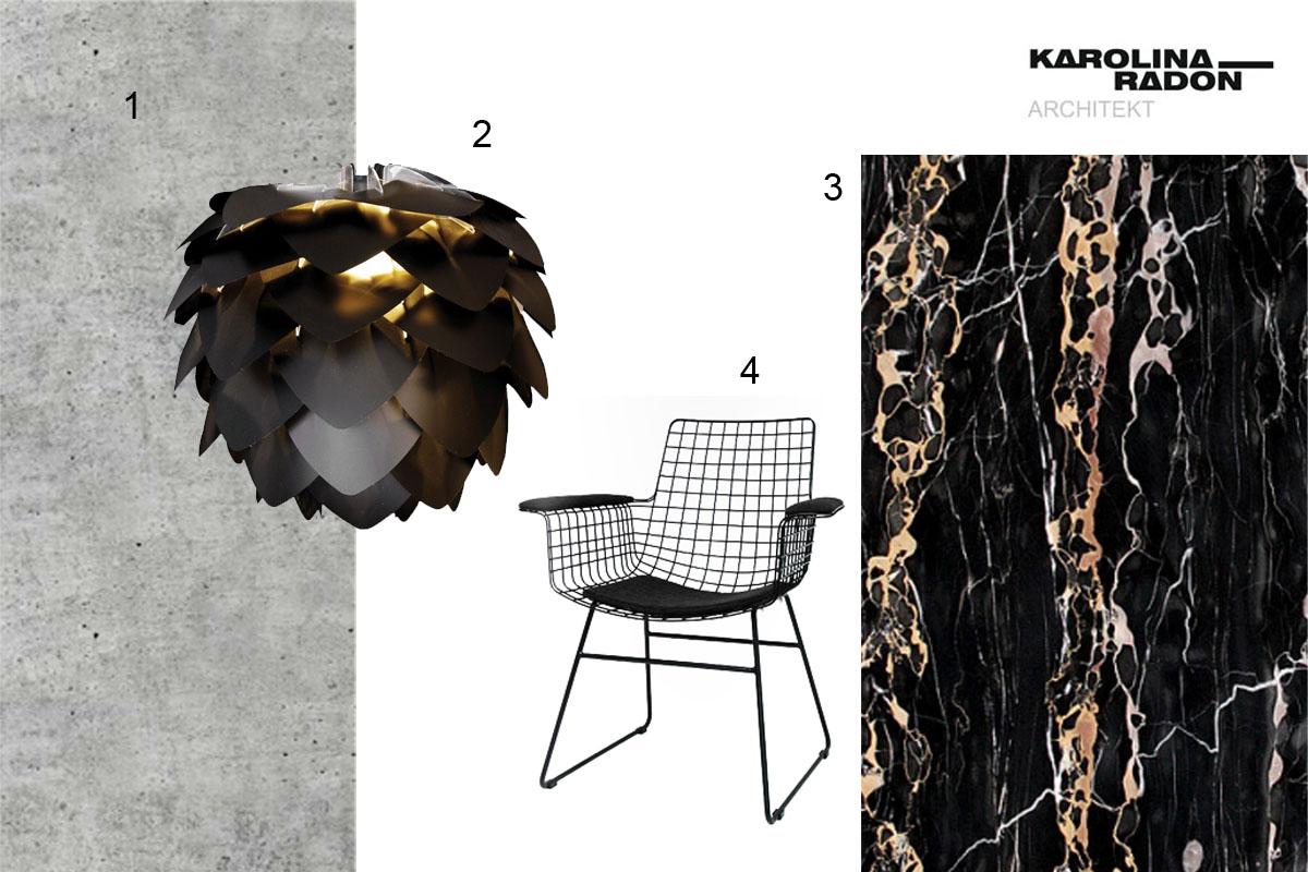 dekorowanie, wnętrza, styl, dobre projekty, stylizacja salonu, nero portoro, złoto, abażur, beton, czerń,