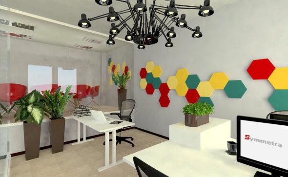 akustyka w biurze, projekt akustyki, panele ścienne, dobra akustyka biura, projekt biura, projektant, architekt, pojektowanie, wnętrza biurowe