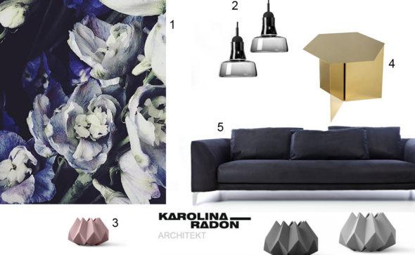 stylizacje wnetrzarskie, granatowy, karolina radoń design, krdesign, salon, inspiracje, dobreprojekty