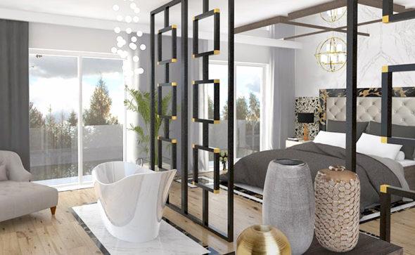 sypialnia, nowoczesna, kamień, drewno, marmur, projekt sypialni, pokój kąpielowy, jasne wnętrze, glamour, luksusowe, karolina radoń, dobry projekt, calcatta, nero portoro, exclusive, new design, new post, luxury bedroom,