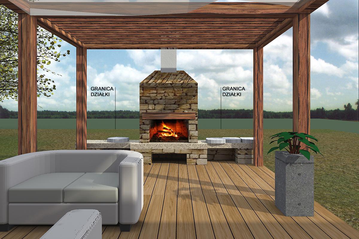 prokjekt domu, projekt elewacji, house design, taras, kominek, trejaż