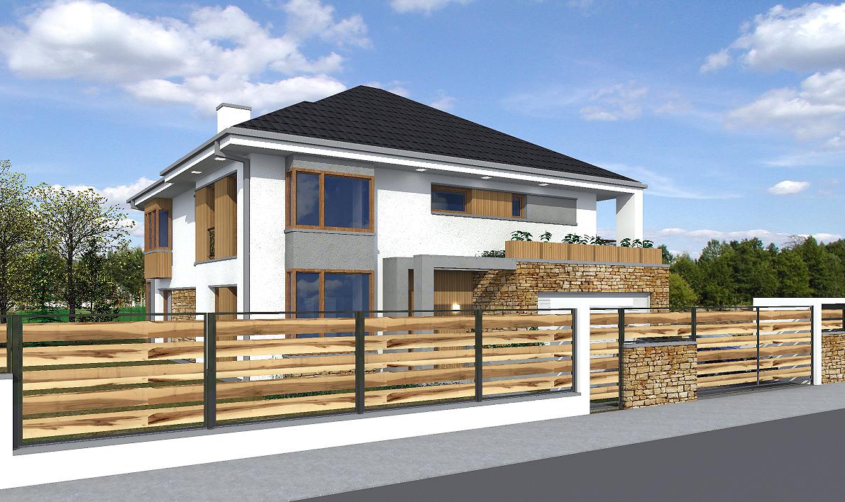 prokjekt domu, projekt elewacji, house design, taras, ogrodzenie front domu, elewacja od ulicy