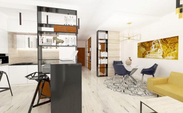 luksusowe apartamenty, niemcewicza 17, projektowanie wnętrz, napollo, apartament, salon