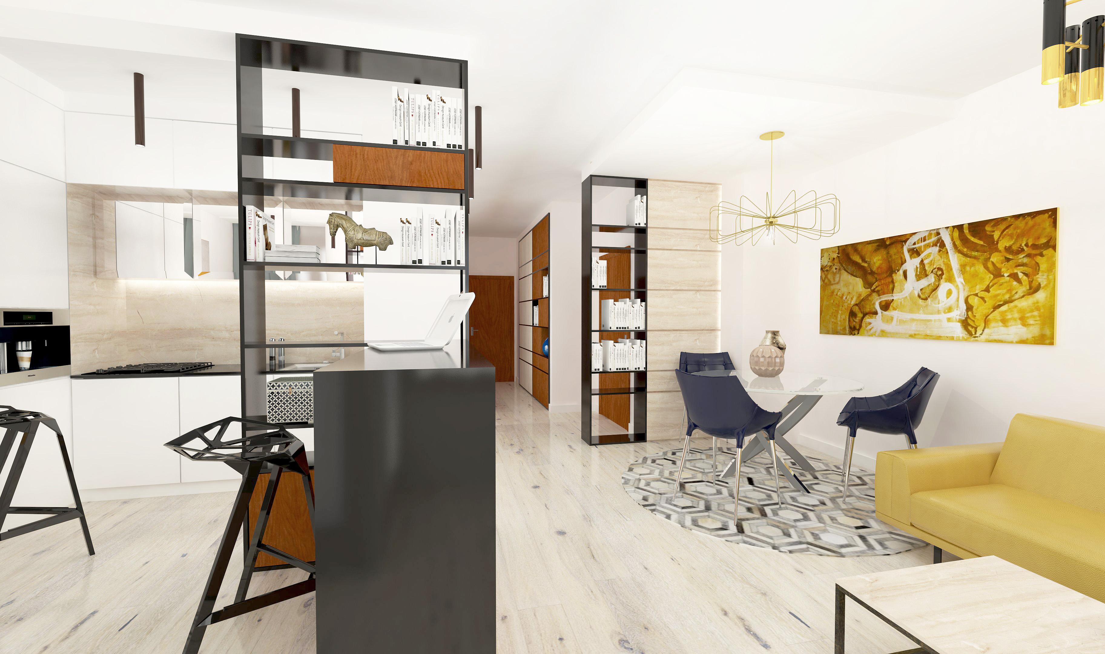 niemcewicza 17, projektowanie wnętrz, napollo, apartament, salon