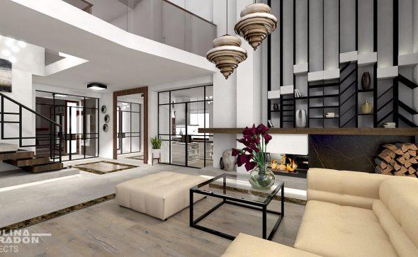 koncepja nowoczesnego wnetrza, industrial luxury interior warsaw