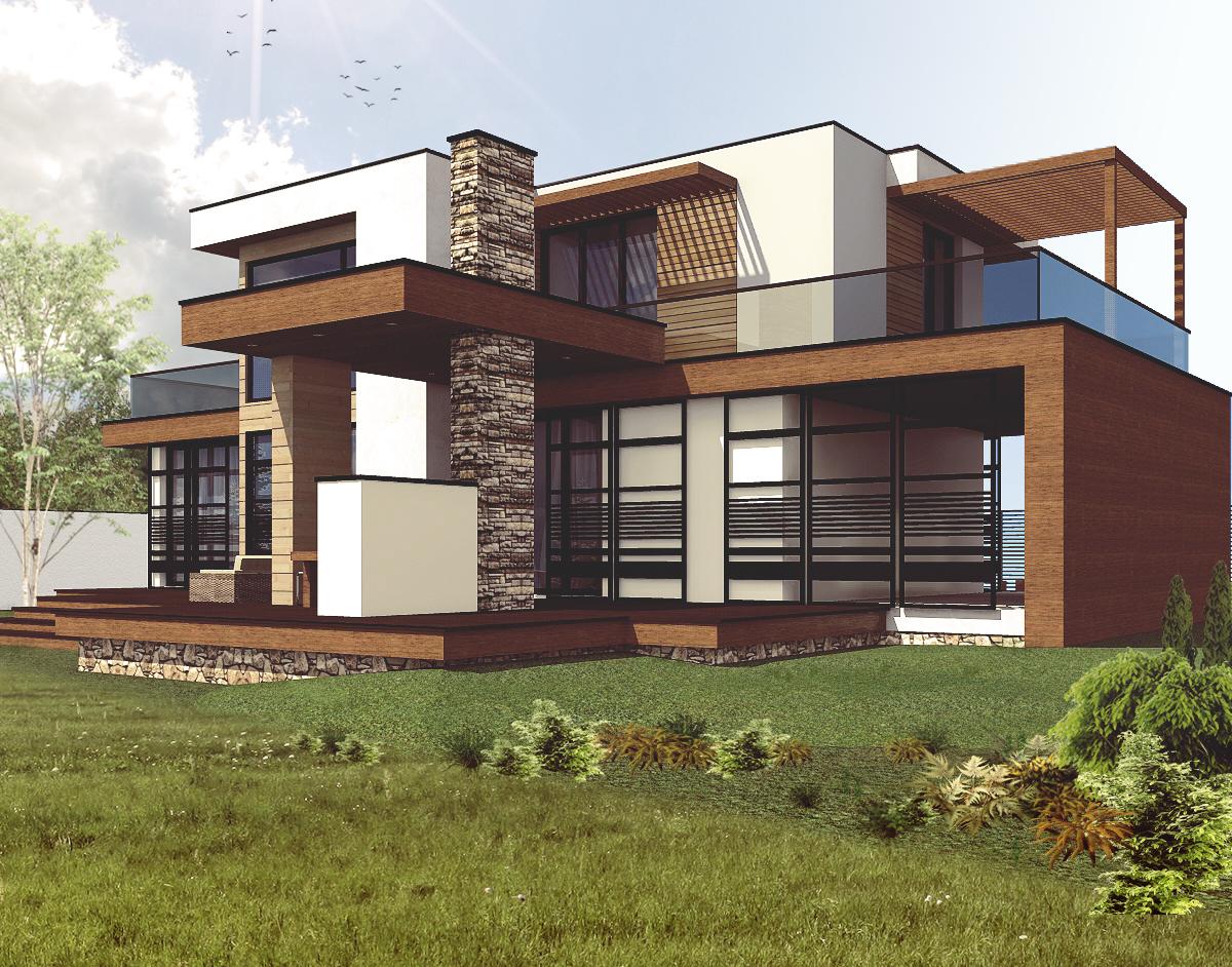 nowoczesny budynek dach plaski