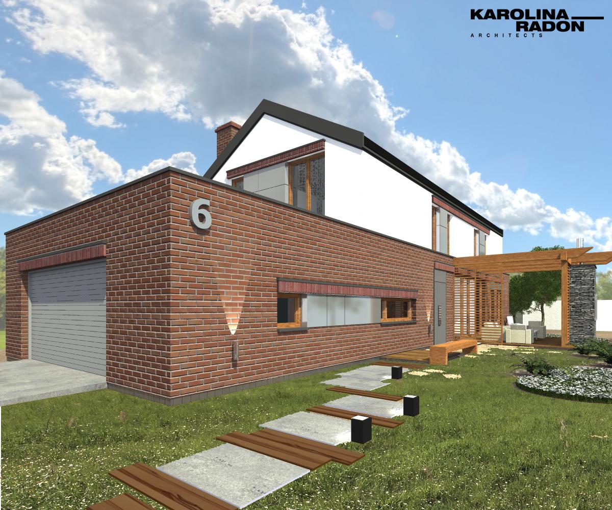 elewacja z cegły klinkierowej- projekt indywidualny